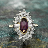 Vintage 1970s Ring Amethyst and Clear Swarovski Crystals 18k Yellow Gold Electroplate February Birthstone Made in USA