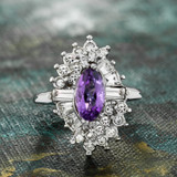 Vintage 1970s Ring Amethyst and Clear Swarovski Crystals 18k White Gold Electroplate February Birthstone Made in USA