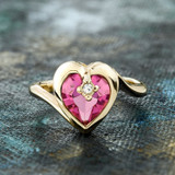 Vintage 1970s Heart Shape Ring with Pink Tourmaline Swarovski Crystal 18k Yellow Gold Electroplated Made in USA #R1400