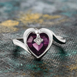 Vintage 1970s Heart Shape Ring with Amethyst Swarovski Crystal 18k White Gold Electroplated Made in USA #R1400