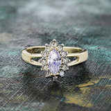Vintage Alexandrite Cubic Zirconia and Clear Swarovski Crystals 18kt Yellow Gold Electroplate Made in USA #R1314