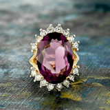 Vintage Amethyst and Clear Swarovski Crystal Ring 18k Yellow Gold Electroplated Made in USA