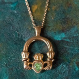Vintage Claddagh Necklace Peridot Swarovski Heart Crystal 18k Yellow Gold Electroplated Made in the USA