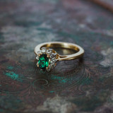 Vintage Ring Emerald and Clear Swarovski Crystals 18kt Yellow Gold Plated Band May Birthstone Made in USA