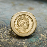Rare Vintage Roman Emperor Antonius Pius Coin Ring Collectors Item Gold Plate Handcrafted Made in USA