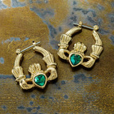 Vintage Claddagh Earrings Swarovski Heart Crystal 18k Yellow Gold Electroplated Made in the USA