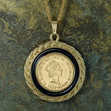 Vintage Queen Elizabeth II 100 Pound Coin Pendant Necklace 18k Yellow Gold Electroplated Made in the USA