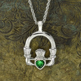 Vintage Claddagh Necklace Green Tourmaline Swarovski Heart Crystal 18k White Gold Electroplated Made in the USA N3099