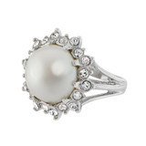 Vintage 1970s Pearl Bead and Swarovski Crystal Ring 18k White Gold Electroplated Made in USA