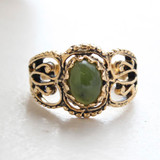 Vintage Genuine Jade Ring -  Antiqued 18kt Yellow Gold Antiqued Electroplated - Made in the USA