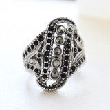 Vintage Genuine Marcasite Filigree Ring - Antique 18k White Gold Electgroplated - Made in USA