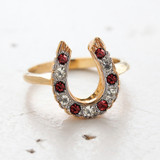 Vintage Ruby and Clear Swarovski Crystal Horseshoe Ring - 18kt Yellow Gold Electroplated - July Birthstone - Made in the USA