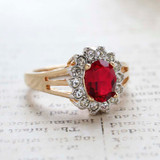 Vintage Ruby Swarovski Crystal Ring -  Clear Swarovski Crystals - 18kt Yellow Gold Electroplated - July Birthstone - Made in the USA