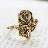 Vintage Genuine Marcasite Rose Ring - Antique 18k Yellow Gold Electroplated - Made in USA
