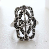 Vintage Genuine Marcasite Cocktail Ring - Antique 18k White Gold Electroplated - Made in USA