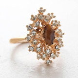 Vintage Ring Genuine Tiger Eye Stone Surrounded by Clear Austrian Crystals Cocktail Ring 18kt Yellow Gold Electroplated Made in USA