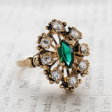 Vintage Ring Emerald Cz Surrounded by Clear Austrian Crystals Cocktail Ring or Birthstone Ring 18kt Antiqued Gold Electroplated Made in America