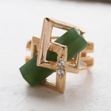 Vintage Retro Glass Jade and Clear Swarovski Crystals 18k Yellow Gold Electroplated Cocktail Ring