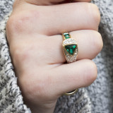 Vintage Jewelry Emerald Cubic Zirconia Pavé Ring Made in the USA