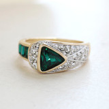 Vintage Jewelry Emerald and Clear Crystal Pavé Ring Made in the USA