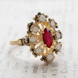 Vintage Ring Ruby Cz Surrounded by Pinfire Opals Cocktail Ring or Birthstone Ring 18kt Antiqued Gold Electroplated Made in America
