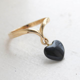 Vintage Ring Dangling Heart Shaped Onyx Stone Ring 18k Yellow Gold Electroplated 1970s