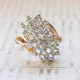 Vintage Jewelry Clear Crystal Cocktail Ring Electroplated with 18kt Yellow Gold Made in the USA