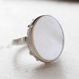 Vintage Mother Of Pearl 18kt White Gold Electroplated Ring Made in the USA