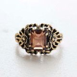 (required)  Vintage Ring Emerald Cut Smokey Topaz Cz 18kt Antiqued Yellow Gold Plated Filligre Ring Made in the USA February Birthstone