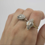 Vintage Clear Cubic Zirconia and Clear Crystal Cocktail Ring Plated in Yellow Gold Tone Made in the USA