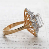 Vintage Jewelry Clear Crystal Cocktail Ring 18k Yellow Gold Electroplated  Made in the USA