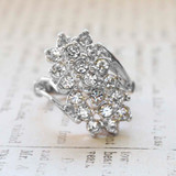 Vintage Jewelry Clear Crystal Cocktail Ring Electroplated with 18kt White Gold Made in the USA