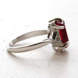 Copy of Vintage Ring Emerald Cut Ruby Cz 18kt White Gold Plated Ring Made in the USA July Birthstone