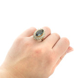 Vintage Sapphire Crystal Cocktail Ring With Clear Austrian Crystals Plated in Yellow Gold Tone