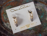 Oscar de la Renta Vintage Drop Earrings Two Tone