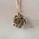 Vintage Flower Pendant Smokey Crystals 18k Yellow Gold Electroplated