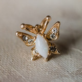 Vintage Butterfly Pin Genuine Opal 18k Yellow Gold Electroplated