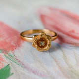 Vintage Flower Ring Clear Crystal 18k Yellow Gold Electroplated