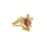 Vintage Genuine Red Tiger Eye Ring and Swarovski Crystal 18k Gold Plated Made in USA