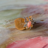 Vintage Butterfly Ring Genuine Coral and Clear Swarovski Crystals 18kt Yellow Gold Electroplated