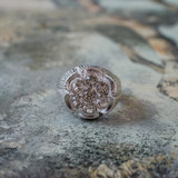 Vintage Men's Antiqued 18K White Gold Electroplated Ring Clear Swarovski Crystals Unisex Made in USA
