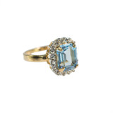 Vintage 1970s Ring with Aquamarine Swarovski Crystal 18k Gold Plated with Clear Swarovski Crystals