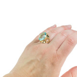Vintage Cocktail Ring Aquamarine Oval Cut Swarovski Crystal 18k Yellow Gold Electroplated