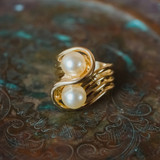 Vintage 1970's Cream Glass Pearl Ring 18k Yellow Gold Electroplated Made in USA