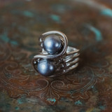 Vintage 1970's Gray Glass Pearl Ring 18k White Gold Electroplated Made in USA