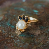 Vintage 1970s Faux Pearl Ring with Sapphire Swarovski Crystals 18kt Yellow Gold Electroplated