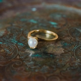 Vintage 1970's Pearl Bead Ring 18k Gold Electroplated Made in USA