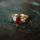 Vintage 1980's 18k Yellow Gold Plated Ruby Swarovski Crystal Ring Made in USA
