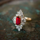 Vintage 1970's Ring Ruby and Clear Swarovski Crystals 18k Yellow Gold Plated Made in USA