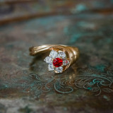 Vintage 1980's Ring Ruby and Clear Swarovski Crystal 18k Gold Electroplated Made in the USA